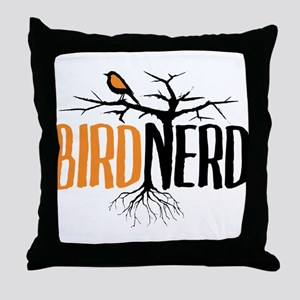 Bird Nerd (Black and Orange) Throw Pillow