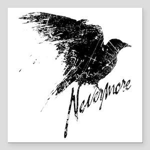 "Nevermore Raven Square Car Magnet 3"" x 3"""