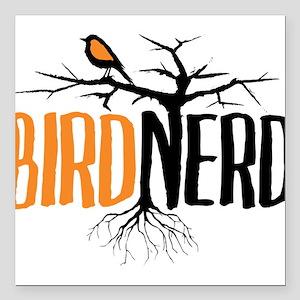 """Bird Nerd (Black and Orange) Square Car Magnet 3"""""""