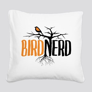 Bird Nerd (Black and Orange) Square Canvas Pillow