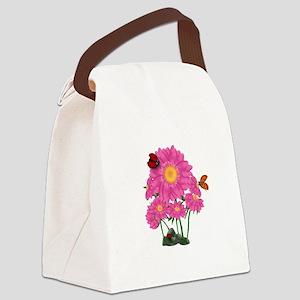 Ladybugs Daisy Garden Canvas Lunch Bag