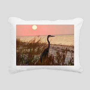 Heron at Sunset Rectangular Canvas Pillow