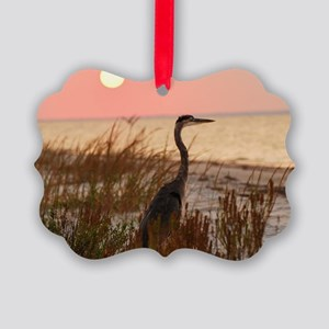 Heron at Sunset Picture Ornament