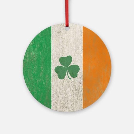 Vintage Irish Shamrock Flag Round Ornament