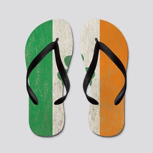 Vintage Irish Shamrock Flag Flip Flops