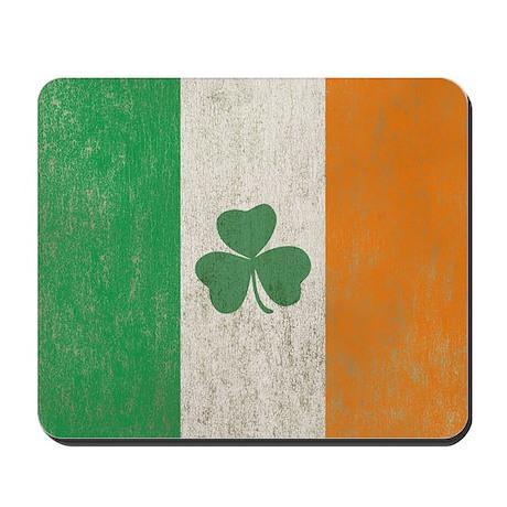 Vintage Irish Shamrock Flag Mousepad