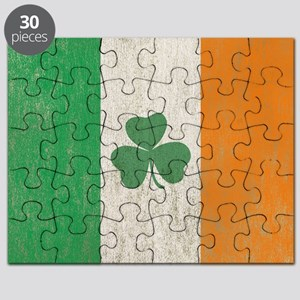 Vintage Irish Shamrock Flag Puzzle