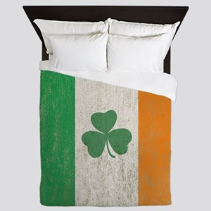 Vintage Irish Shamrock Flag Queen Duvet