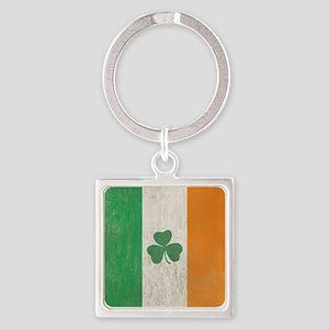 Vintage Irish Shamrock Flag Square Keychain