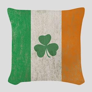 Vintage Irish Shamrock Flag Woven Throw Pillow