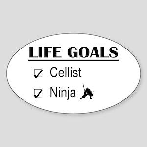 Cellist Ninja Life Goals Sticker (Oval)