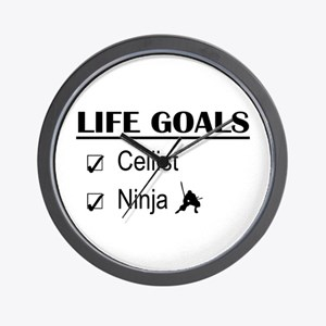 Cellist Ninja Life Goals Wall Clock
