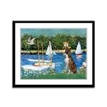 Sailboats & Boxer Framed Panel Print