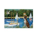 Sailboats & Boxer Rectangle Magnet