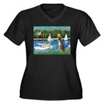 Sailboats & Boxer Women's Plus Size V-Neck Dark T-