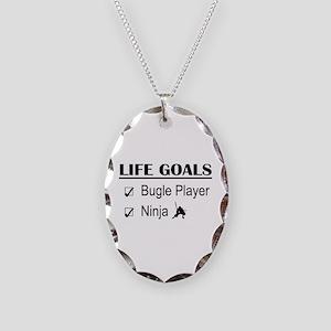 Bugle Player Ninja Life Goals Necklace Oval Charm