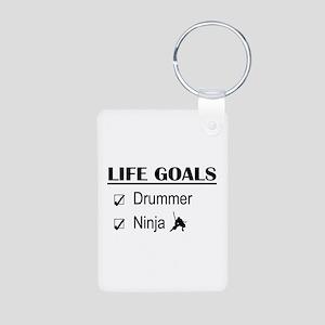 Drummer Ninja Life Goals Aluminum Photo Keychain