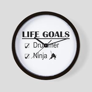 Drummer Ninja Life Goals Wall Clock