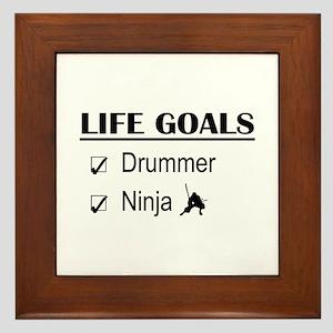 Drummer Ninja Life Goals Framed Tile