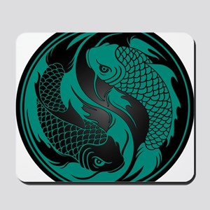 Teal Blue and Black Yin Yang Koi Fish Mousepad