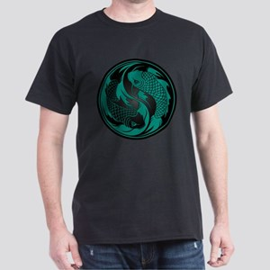 Teal Blue and Black Yin Yang Koi Fish Dark T-Shirt