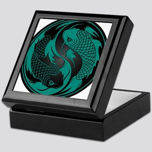 Teal Blue and Black Yin Yang Koi Fish Keepsake Box