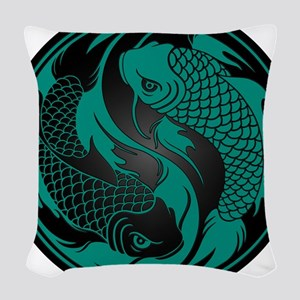 Teal Blue and Black Yin Yang K Woven Throw Pillow
