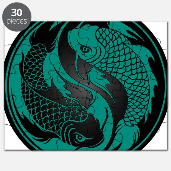 Teal Blue and Black Yin Yang Koi Fish Puzzle