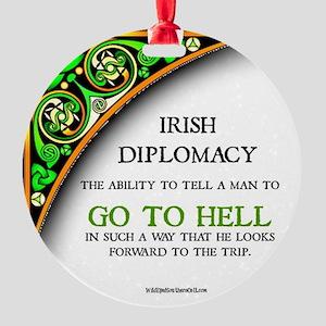 Irish diplomacy Round Ornament