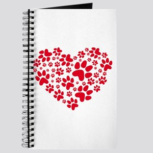 Red heart with paw prints Journal