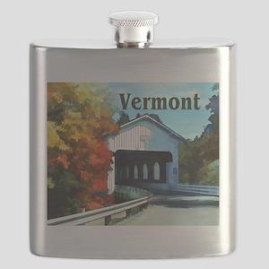 White Covered Bridge Colorful Autumn Vermont Flask