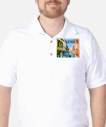 Gondolier in Canal in Venice Golf Shirt