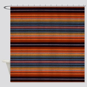 Dark Horizontal Pinstripes Shower Curtain