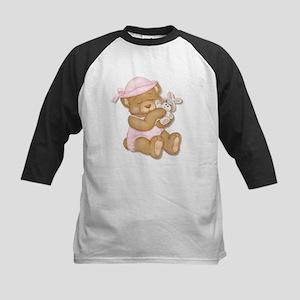 Easter Teddy Girl Kids Baseball Jersey