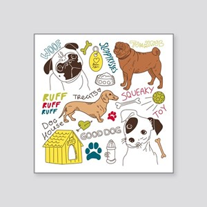 "Dogs Colored P Square Sticker 3"" x 3"""