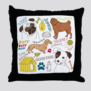 Dogs Colored P Throw Pillow