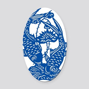 Blue Koi Fish Oval Car Magnet