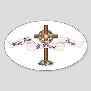 Easter Blessings Cross Oval Sticker