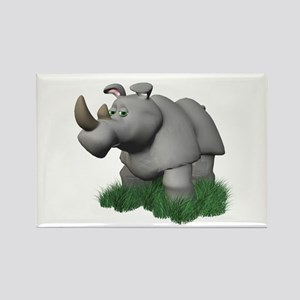 3D Rhino in the Grass Rectangle Magnet