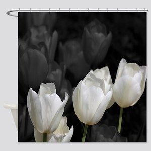 White Tulip Shower Curtain Shower Curtain