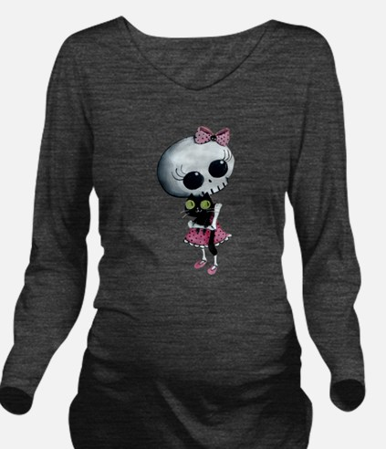 Little Miss Death with black cat Long Sleeve Mater