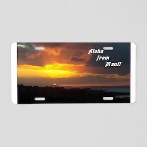 Maui Sunset from Plantation4 Aluminum License Plat