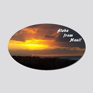 Maui Sunset From Plantation4 20x12 Oval Wall Decal