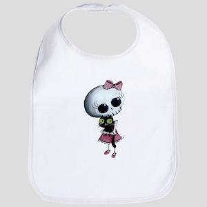 Little Miss Death with black cat Bib