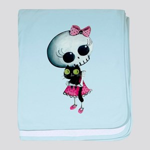 Little Miss Death with black cat baby blanket