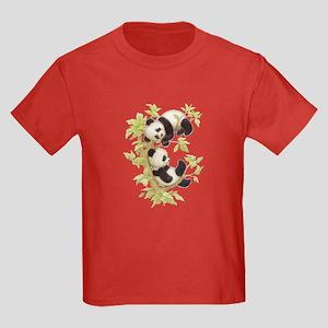 Pandas Playing In A Tree Kids Dark T-Shirt