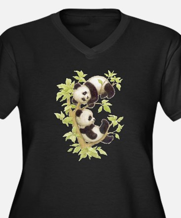 Pandas Playing In A Tree Women's Plus Size V-Neck
