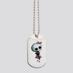 Little Miss Death With Black Cat Dog Tags
