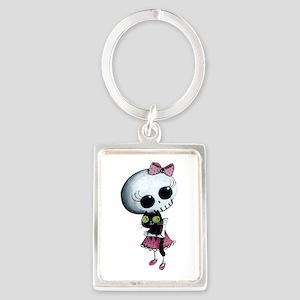 Little Miss Death With Black Cat Portrait Keychain