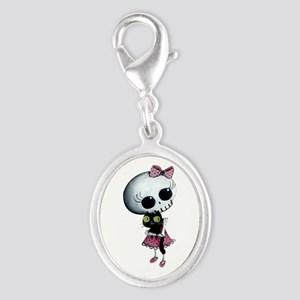 Little Miss Death With Black Silver Oval Charm